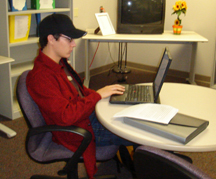 Student working in the Writing Center.