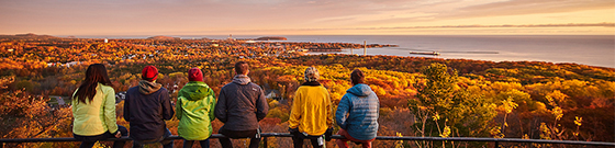 Students enjoying the fall colors from Mount Marquette