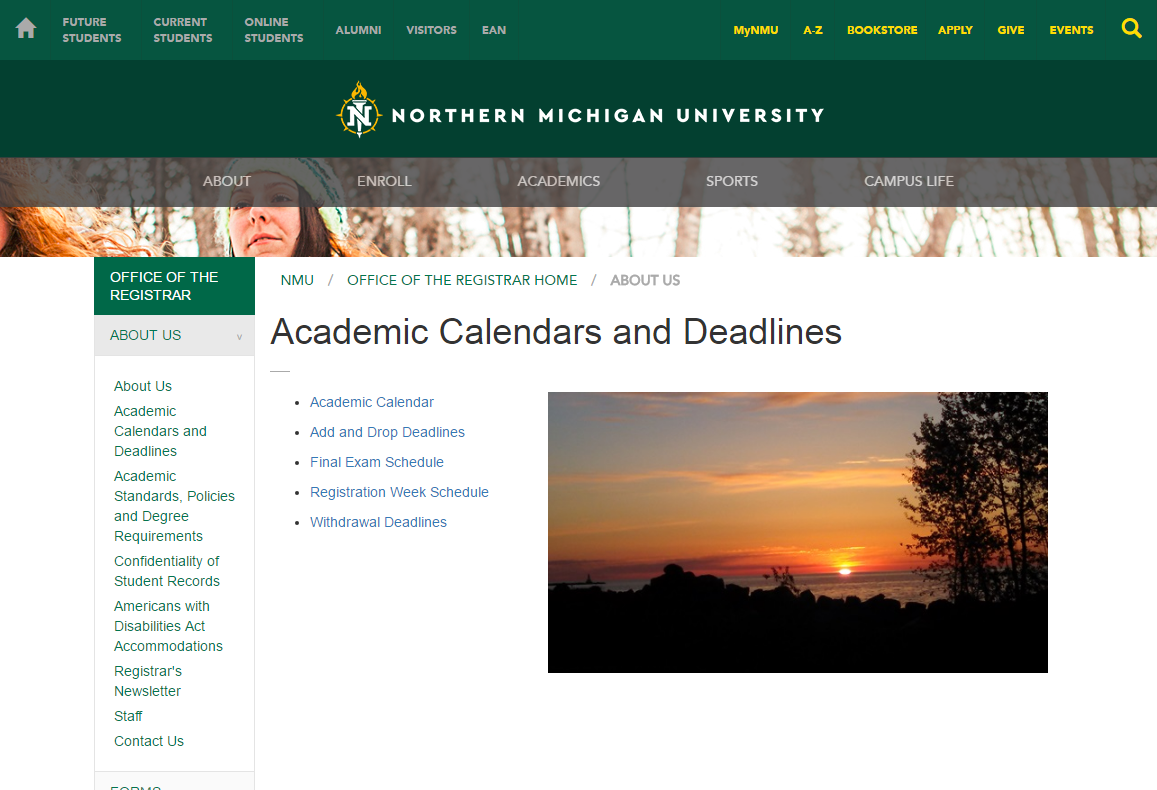 Academic Calendar Screenshot