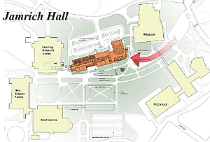 A map of campus with the new academic building in place