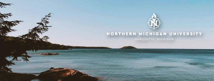 Cover photo with the NMU logo over the lake and woods