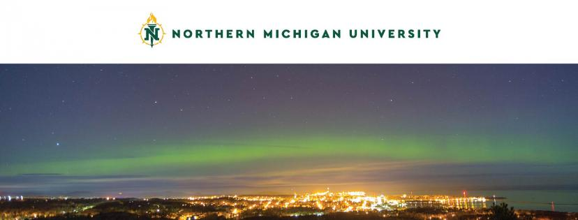 Cover photo with the logo and the Northern Lights over Marquette