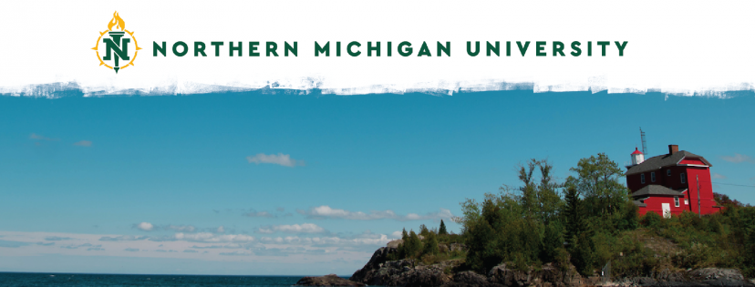 Branded NMU cover photo with the logo and picture of the lighthouse