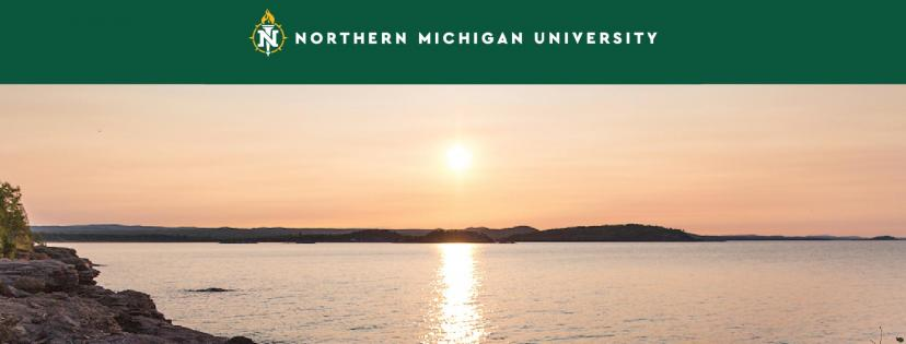 Cover photo with NMU logo and a sunset over Lake Superior