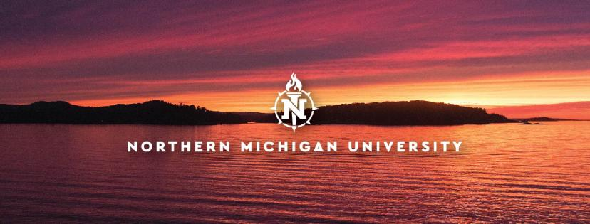 Cover photo with logo over a red sunset over Lake Superior