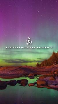 Logo over the Northern Lights at Little Presque