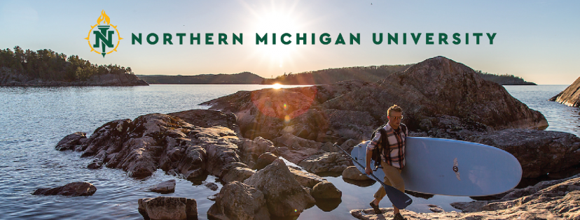 NMU branded cover photo with the logo and guy carrying a paddle board