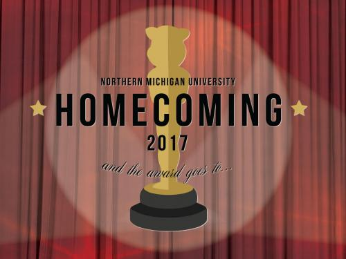 Facebook post for homecoming showing the homecoming logo over a red curtain