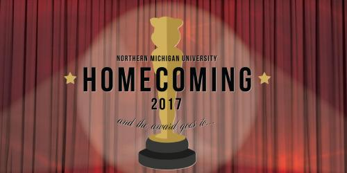 Homecoming Twitter post featuring the logo over a red curtain background