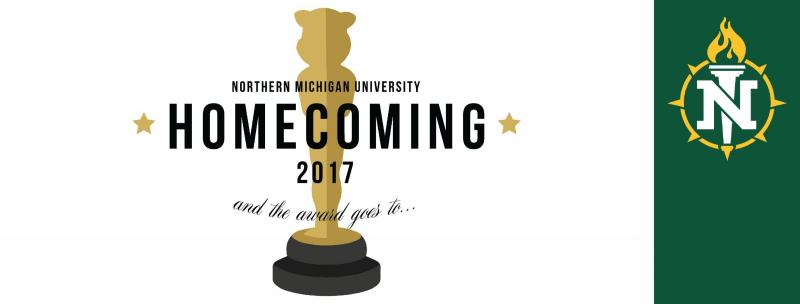Homecoming cover photo featuring the homecoming 2017 logo over a white background next to the NMU logo